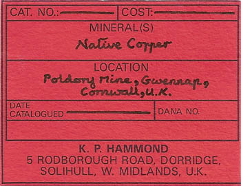 label: Copper from the collection of Philip Rasleigh
