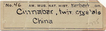 label: Cinnabar from the collection of the American Museum of Natural History (NY)