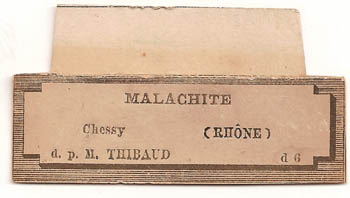 label: Malachite from the collection of the Ecole des Mines, Paris
